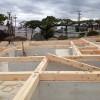 福島県須賀川市 城屋根の家 土台敷き