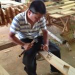 手造り梯子 加工設置 ブヨに注意!